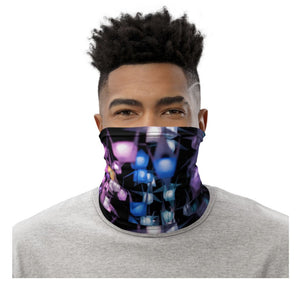 Face Covering-Neon Night Lantern Print Neck Gaiter-Midnight Sheetcake