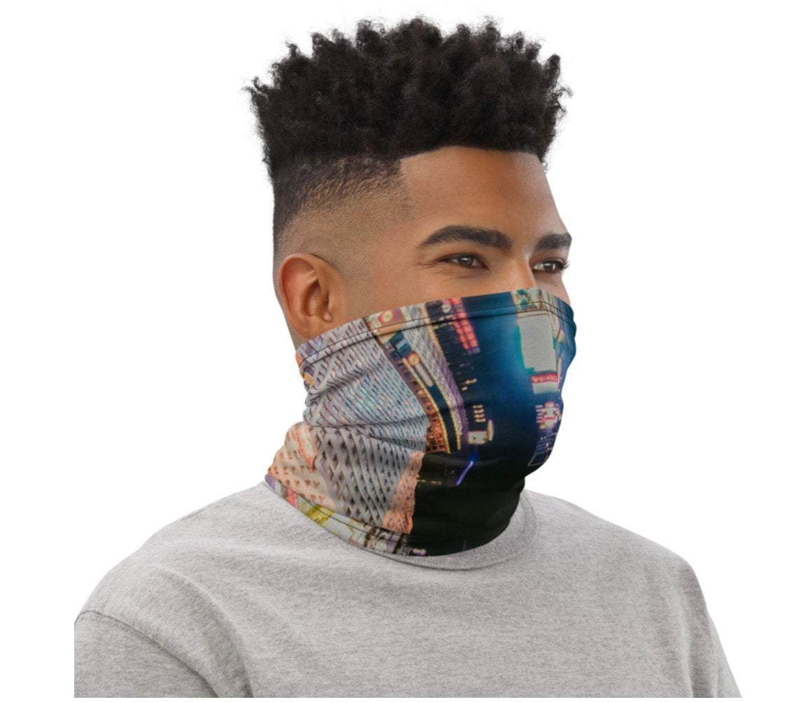 Face Covering-Night Skyscraper Abstract Print Neck Gaiter-Midnight Sheetcake