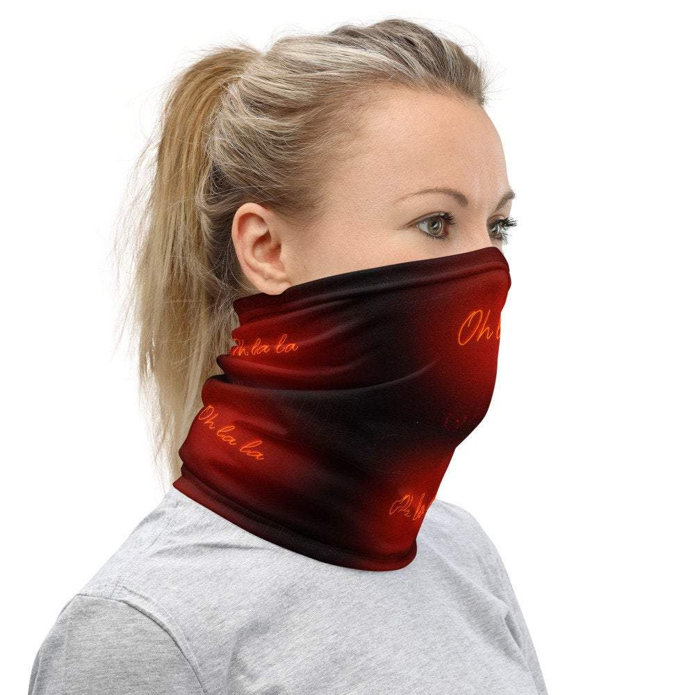 Face Covering-Oh La La Neon Light Print Neck Gaiter-Midnight Sheetcake
