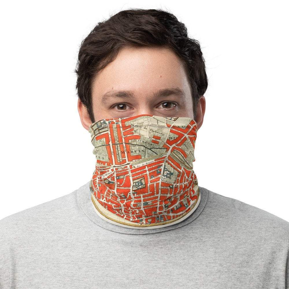 Face Covering-Paris France, Plattegrond van Parijs Delisle Illustration Neck Gaiter-Midnight Sheetcake