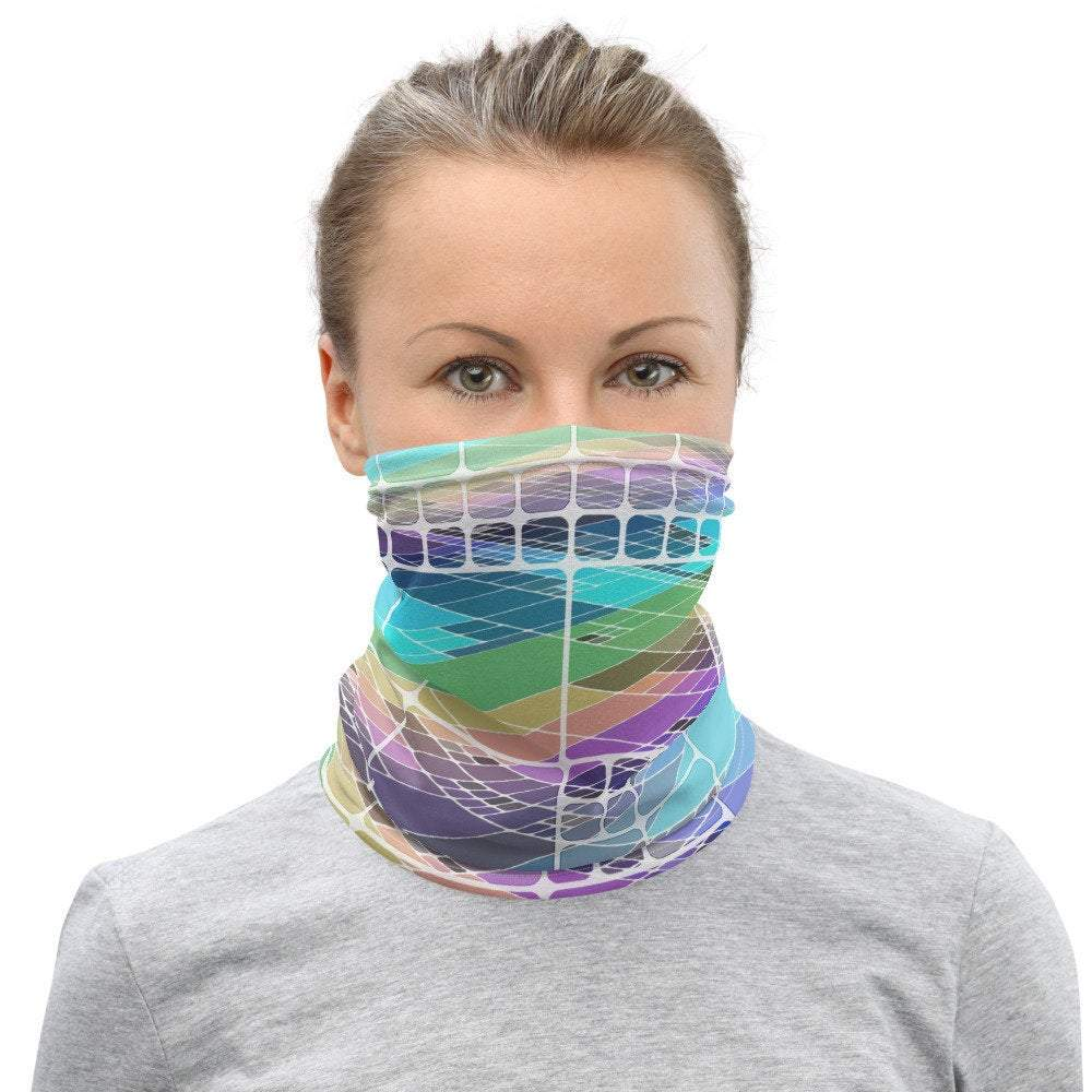 Face Covering-Pastel Tile Print Neck Gaiter-Midnight Sheetcake