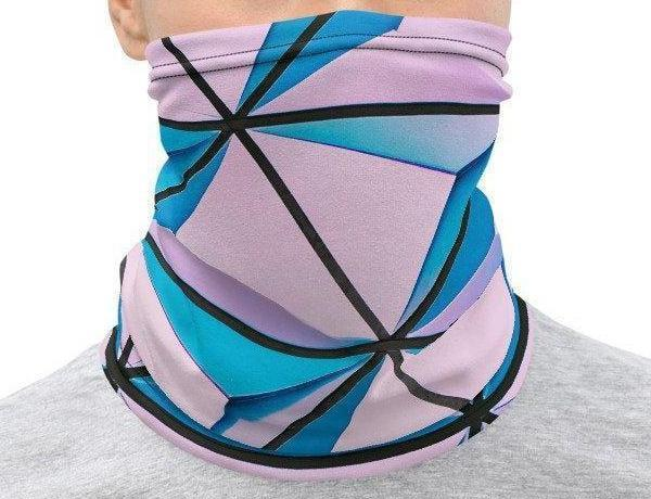 Face Covering-Pink and Blue Geometric Print Neck Gaiter-Midnight Sheetcake