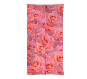 Face Covering-Pink Flower Dress Up Neck Gaiter-Midnight Sheetcake