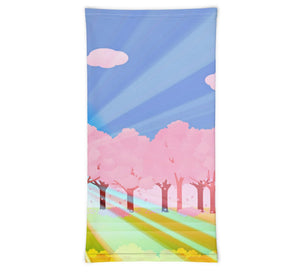 Face Covering-Pink Trees Graphic Print Neck Gaiter-Midnight Sheetcake