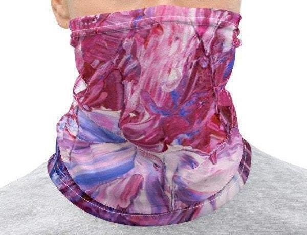 Face Covering-Purple Abstract Painting Print Neck Gaiter-Midnight Sheetcake
