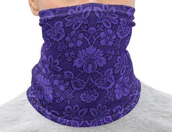 Face Covering-Purple Floral Botanical Print Neck Gaiter-Midnight Sheetcake