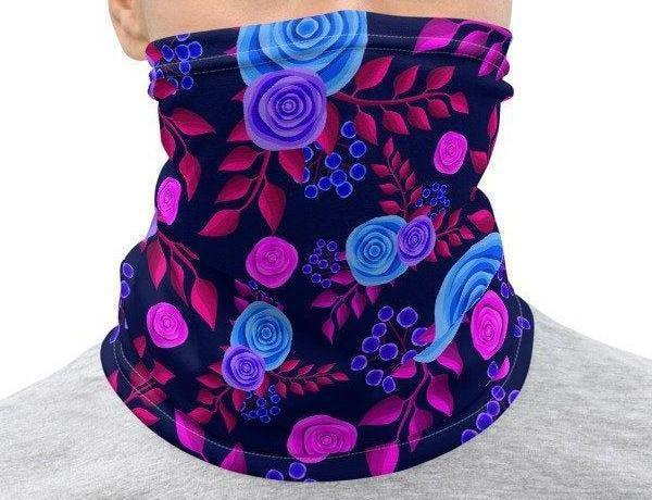Face Covering-Purple Floral Print Neck Gaiter-Midnight Sheetcake