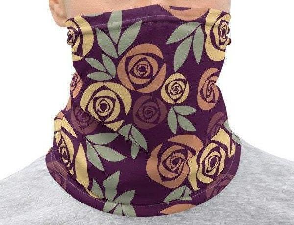 Face Covering-Purple Rose Graphic Print Print Neck Gaiter-Midnight Sheetcake