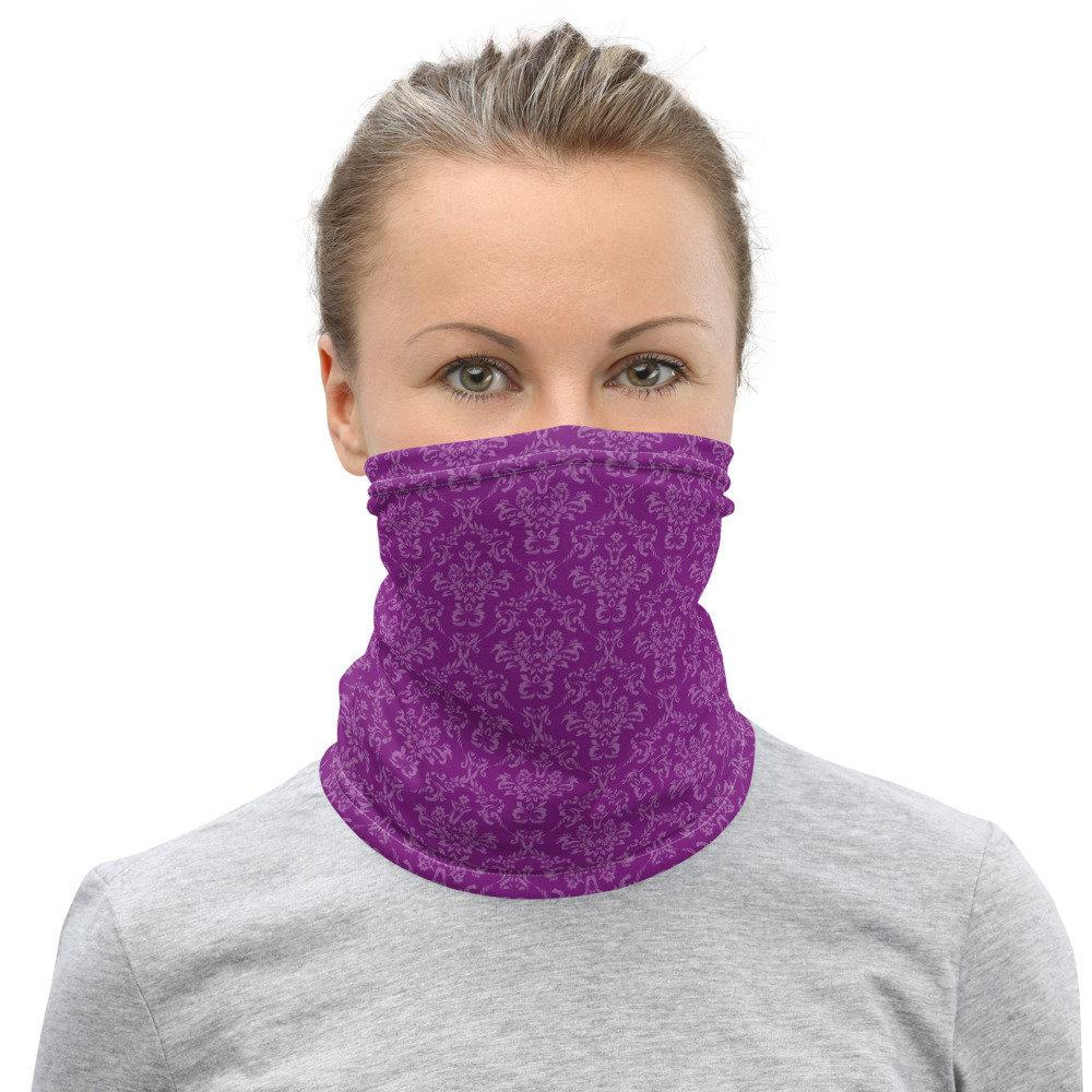 Face Covering-Purple Subtle Damask Print Neck Gaiter-Midnight Sheetcake