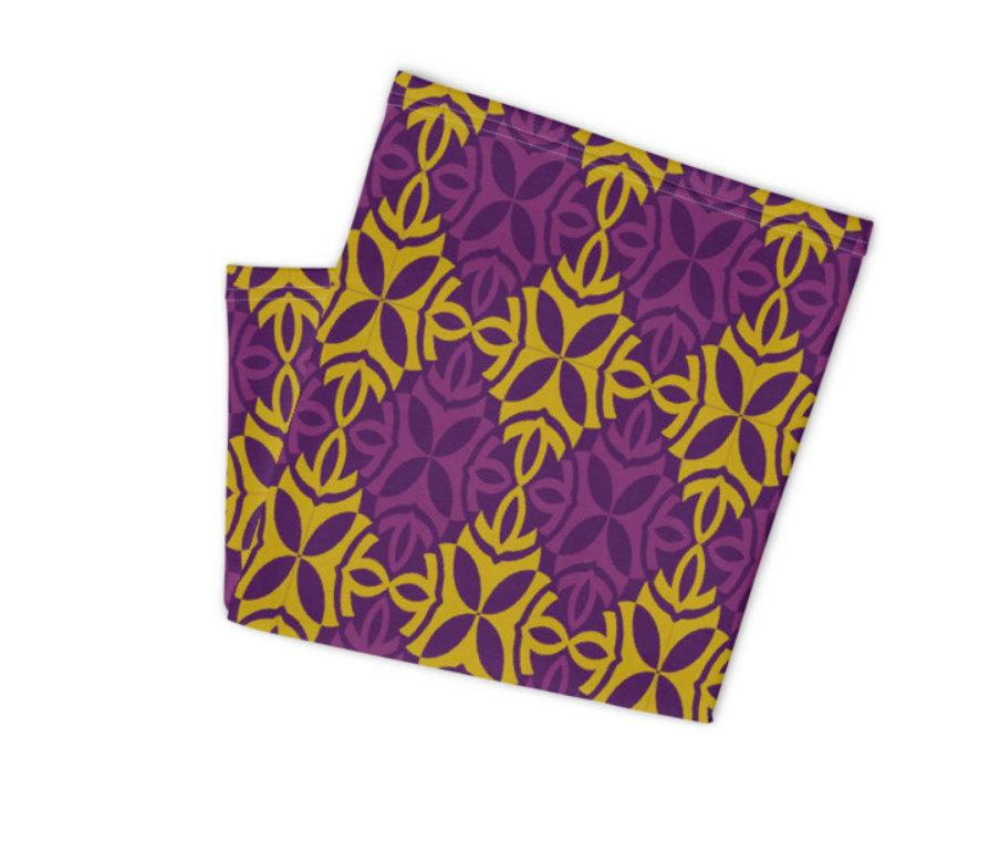 Face Covering-Purple Yellow Ornatmental Print Neck Gaiter-Midnight Sheetcake