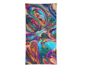 Face Covering-Rainbow Paint Swirl Fractal Print Neck Gaiter-Midnight Sheetcake