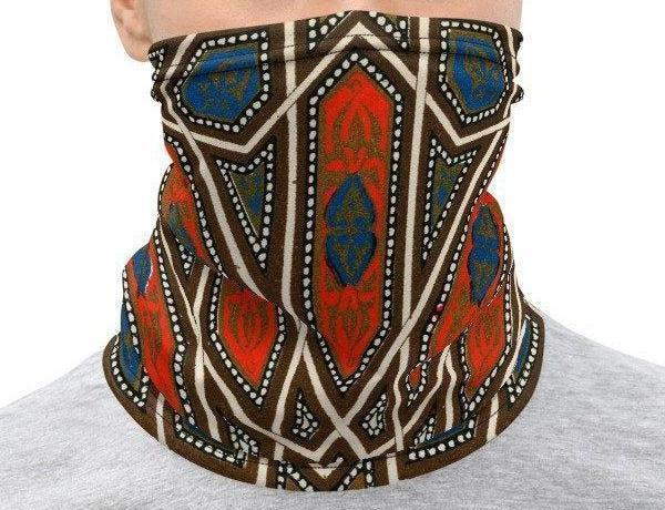 Face Covering-Red and Blue Geometric Jones Design Neck Gaiter-Midnight Sheetcake