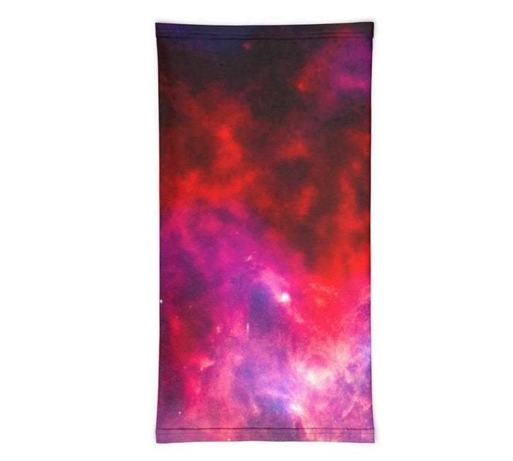 Face Covering-Red and Purple Galaxy Print Neck Gaiter, NASA print-Midnight Sheetcake