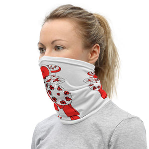 Face Covering-Red and White Umbrella Print Neck Gaiter-Midnight Sheetcake