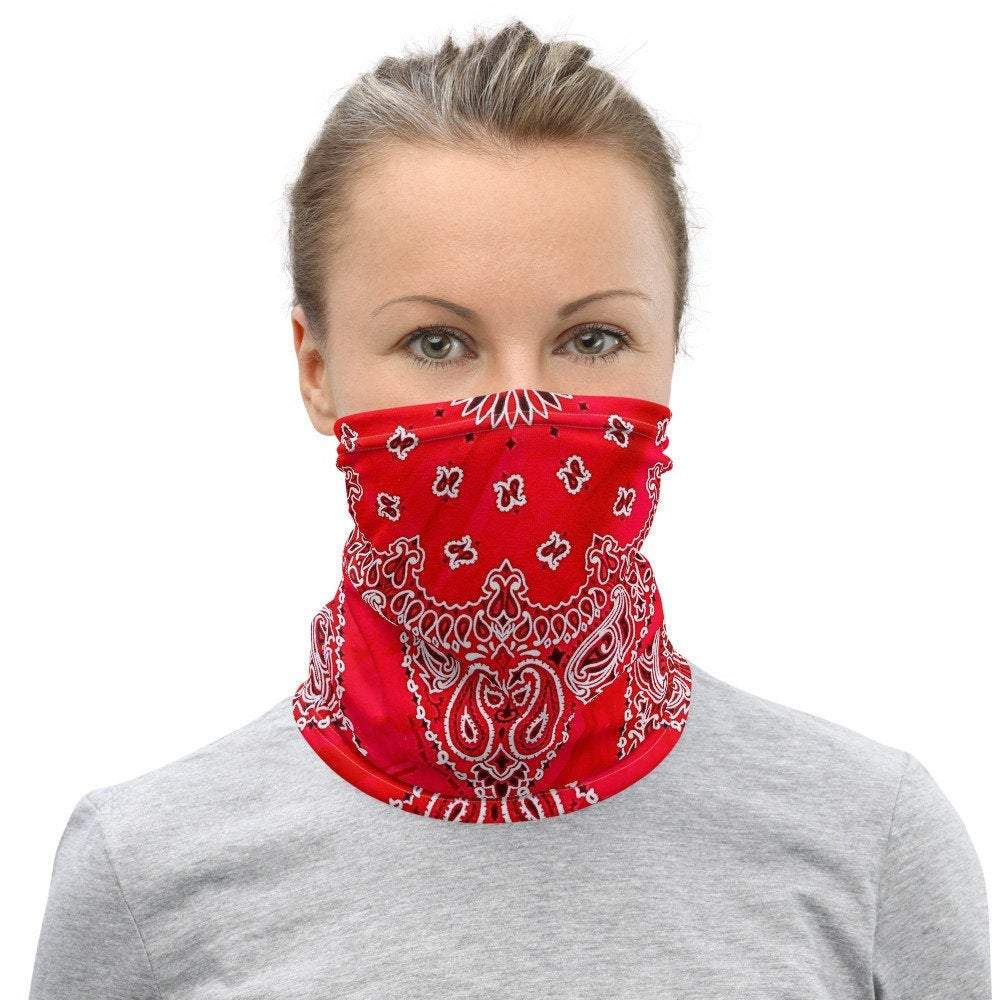 Face Covering-Red Faux Vintage Bandana Illusion Print Neck Gaiter-Midnight Sheetcake