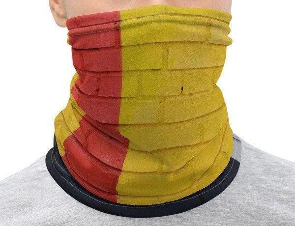 Face Covering-Red Yellow Geometric Painted Brick Illusion Print Neck Gaiter-Midnight Sheetcake