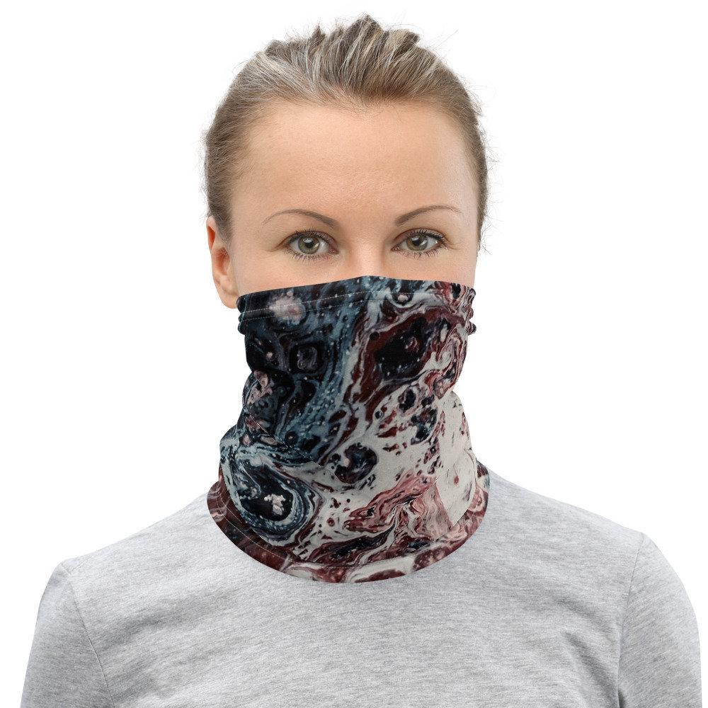 Face Covering-Reddish Blue Paint Swirl Illusion Print Neck Gaiter-Midnight Sheetcake