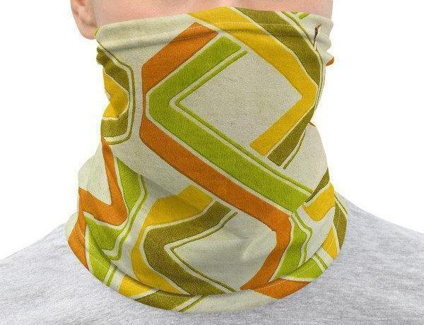Face Covering-Retro Geometric Print Print Neck Gaiter-Midnight Sheetcake