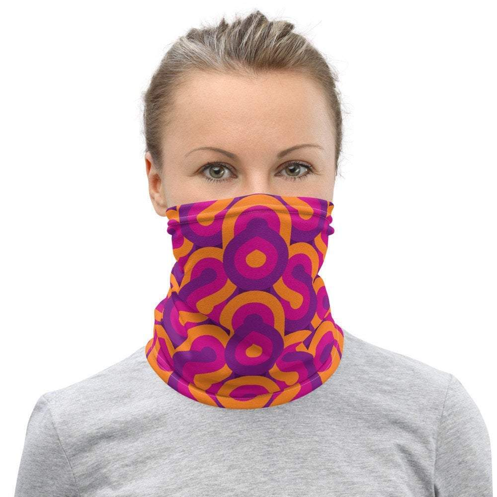 Face Covering-Retro Mod Swirl Pink and Purple Illusion Print Neck Gaiter-Midnight Sheetcake