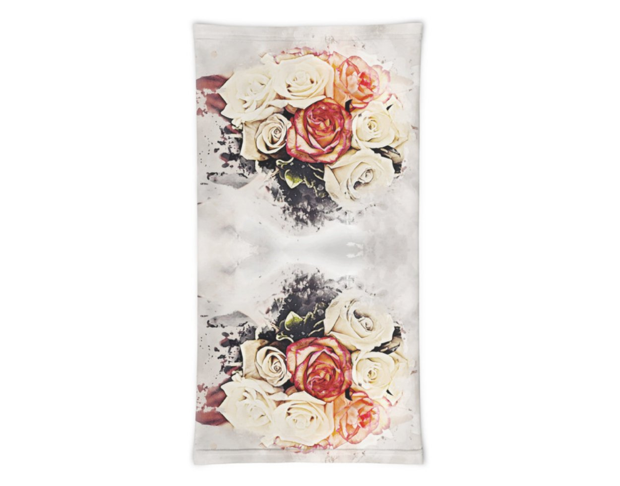 Face Covering-Rose Bouquet Print Neck Gaiter-Midnight Sheetcake