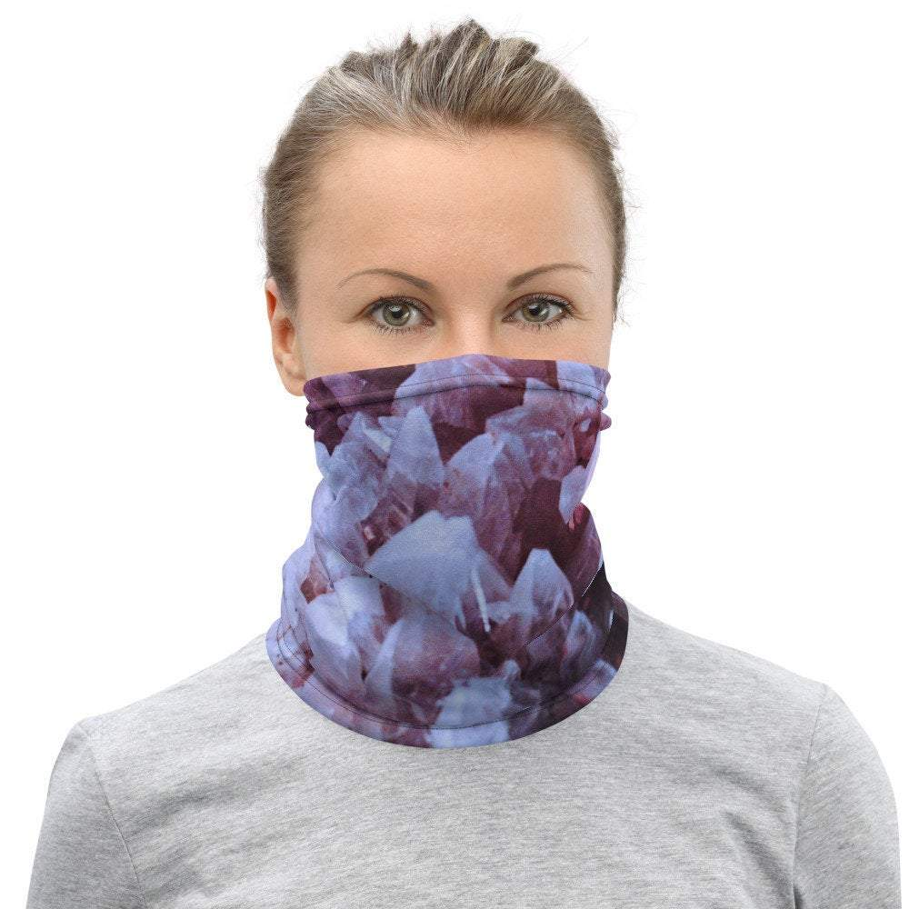Face Covering-Rose Crystal Illusion Print Neck Gaiter-Midnight Sheetcake