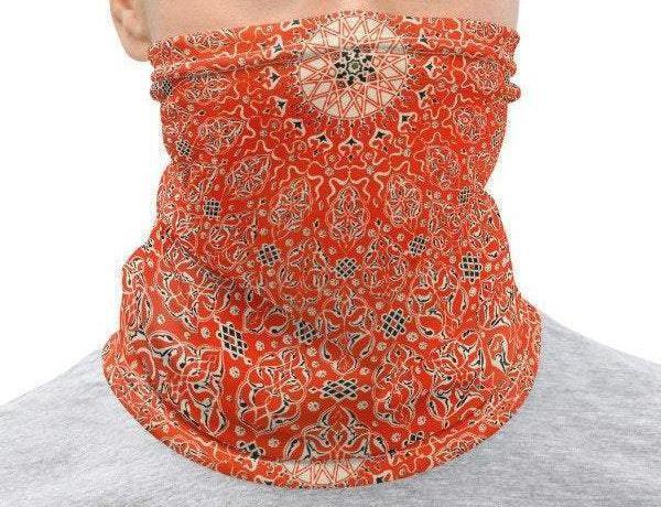 Face Covering-Rust Orange Geometric Print Neck Gaiter-Midnight Sheetcake