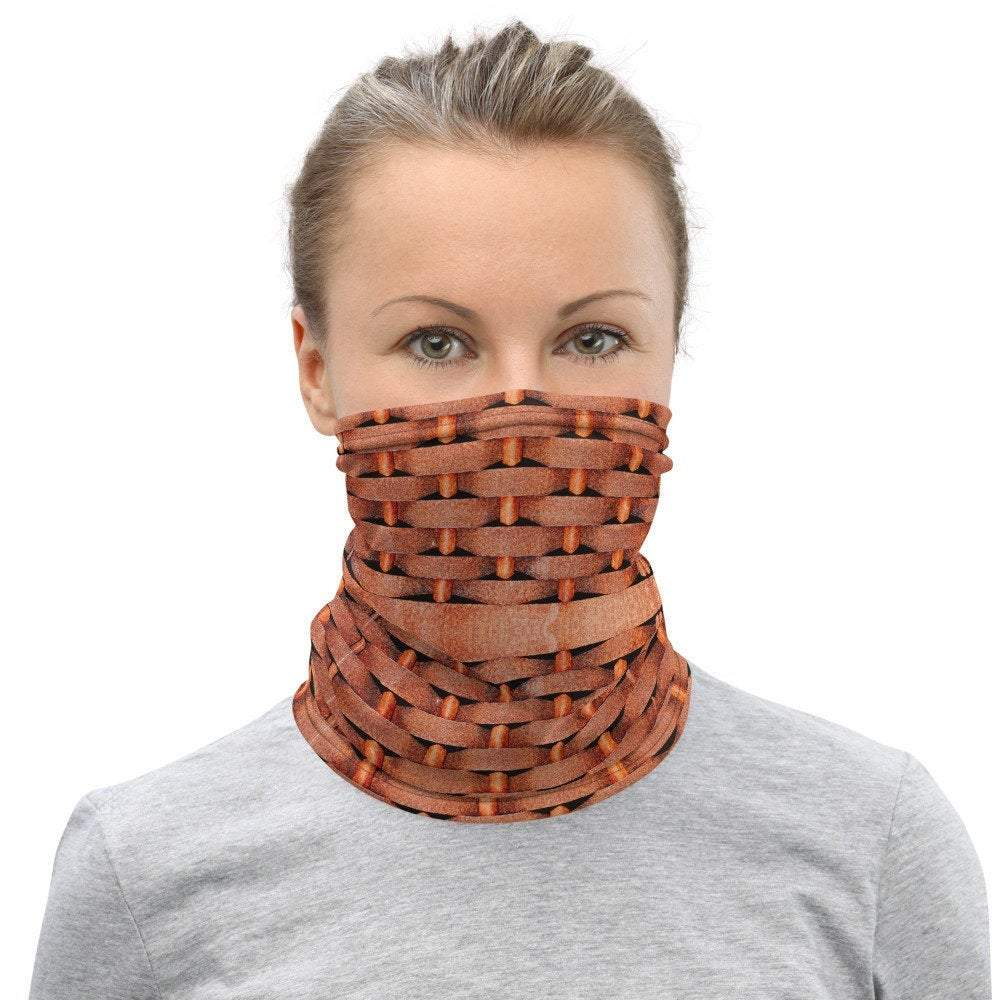 Face Covering-Rusty Woven Illusion Print Neck Gaiter-Midnight Sheetcake