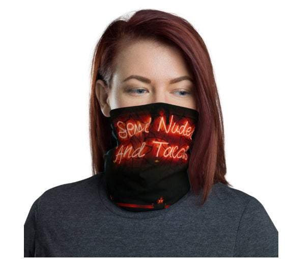 Face Covering-Send Nude and Tacos Neon Lights Print Neck Gaiter-Midnight Sheetcake