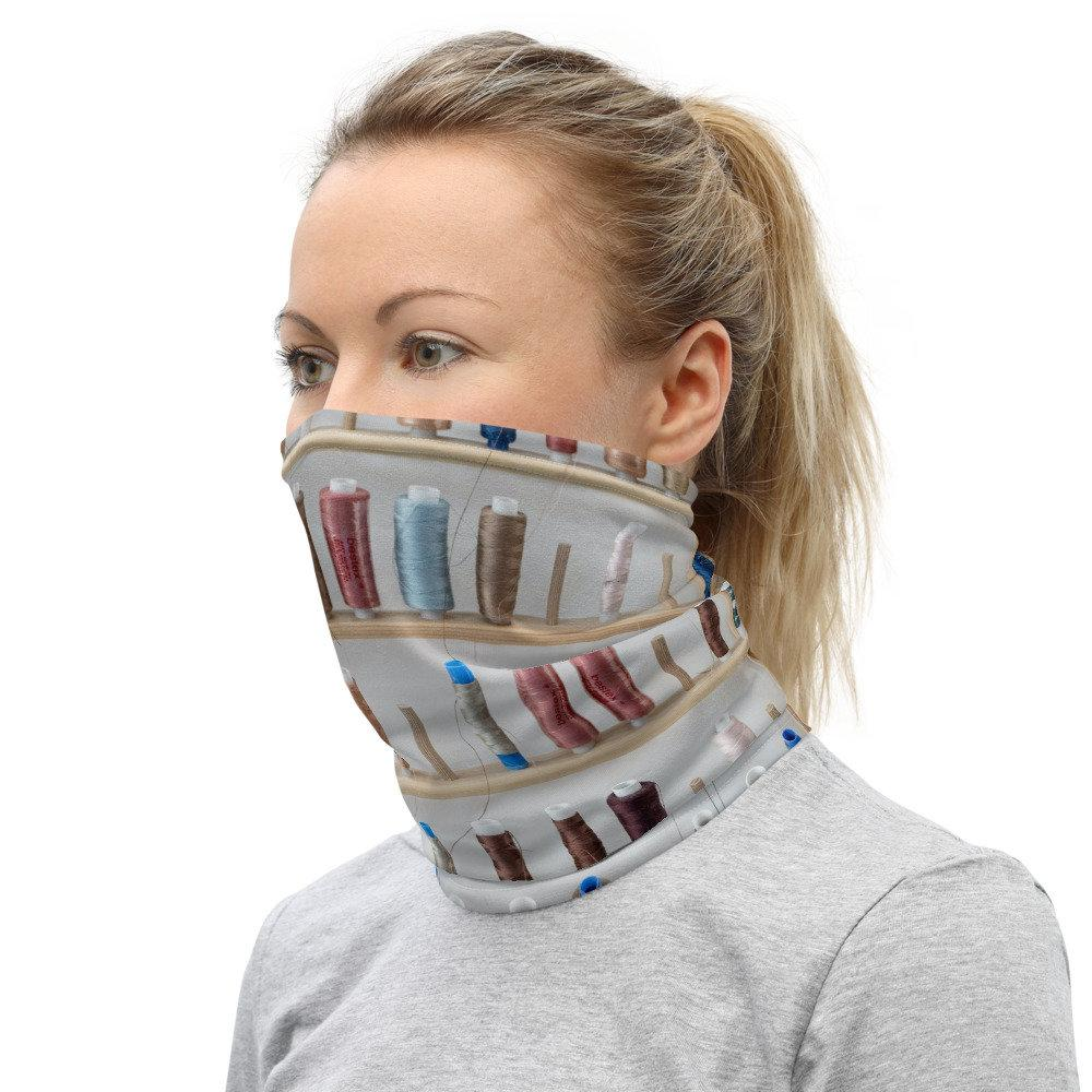 Face Covering-Shelf of Threads Sewing Print Neck Gaiter-Midnight Sheetcake
