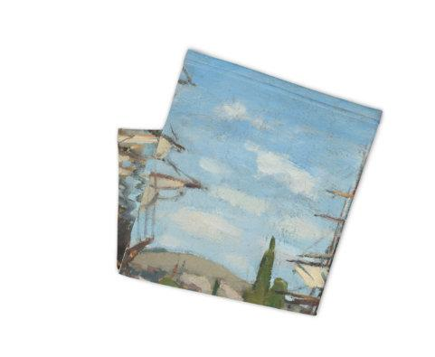 Face Covering-Ships Claude Monet. Printed Neck Gaiter-Midnight Sheetcake