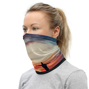 Face Covering-Silhouette Beach Sunset Sky Gradient Photo Neck Gaiter-Midnight Sheetcake