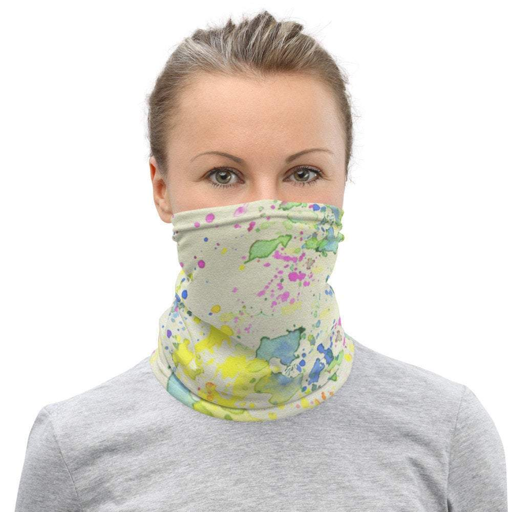 Face Covering-Splatter Paint Illusion Print Neck Gaiter-Midnight Sheetcake