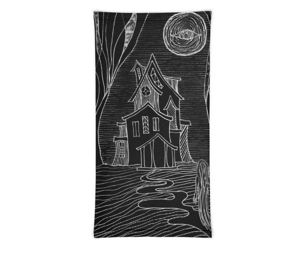 Face Covering-Spooky Haunted House Print Neck Gaiter-Midnight Sheetcake