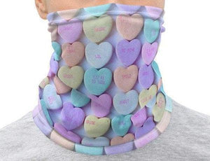 Face Covering-Sweettooth Conversation Hearts Print Neck Gaiter-Midnight Sheetcake