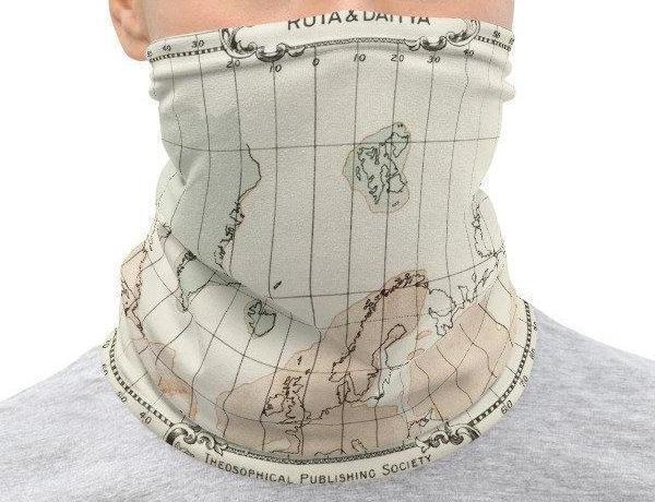 Face Covering-The Story of Atlantis Map Illustration Neck Gaiter-Midnight Sheetcake