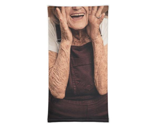 Face Covering-Trading Face Yelling Granny Face Print Neck Gaiter-Midnight Sheetcake