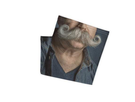 Face Covering-Trading Faces Half Face Portrait Male Handlebar Moustache Photo Neck Gaiter-Midnight Sheetcake