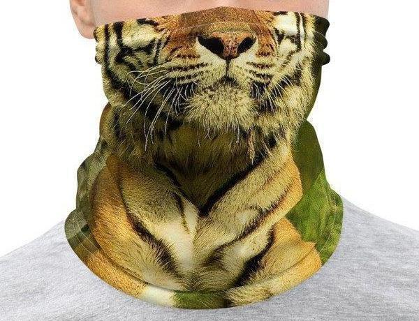 Face Covering-Trading Faces Orange Tiger Face Illusion Print Neck Gaiter-Midnight Sheetcake