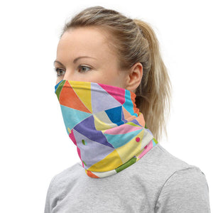 Face Covering-Triangle Confetti Rainbow Print Neck Gaiter-Midnight Sheetcake