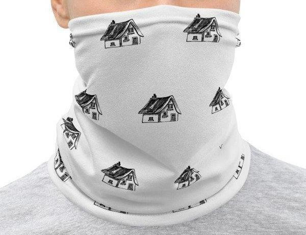 Face Covering-Victorian House Engraving Print Neck Gaiter-Midnight Sheetcake