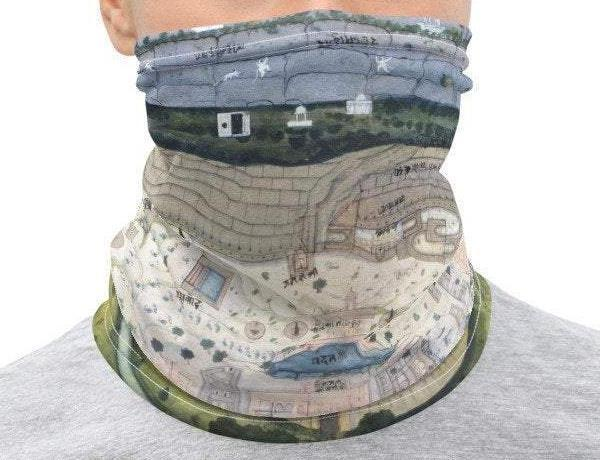 Face Covering-Vintage Map Print Neck Gaiter, Fortified City of Ranthambhor Plan-Midnight Sheetcake