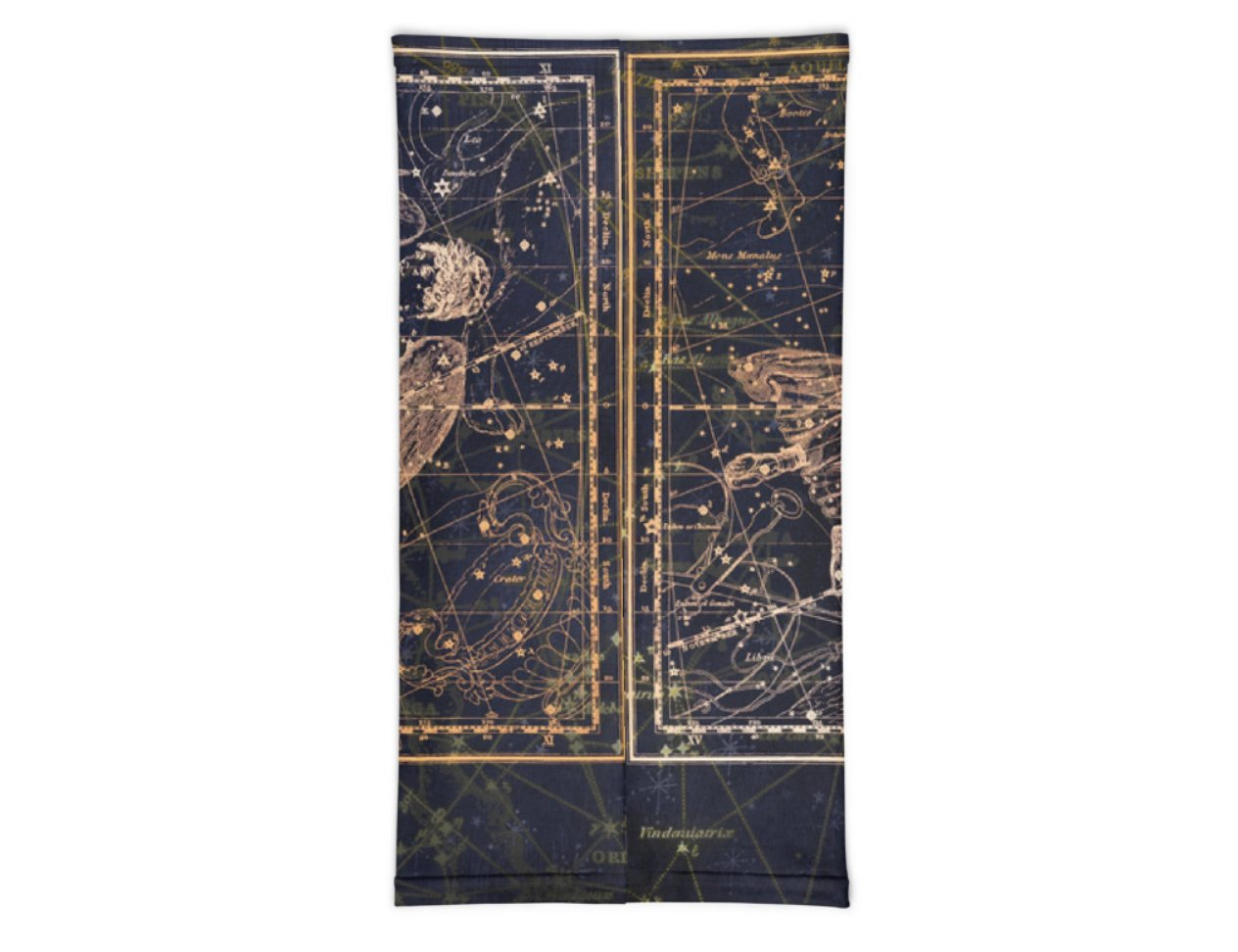 Face Covering-Virgo Navy and Gold Constellation Print Neck Gaiter-Midnight Sheetcake