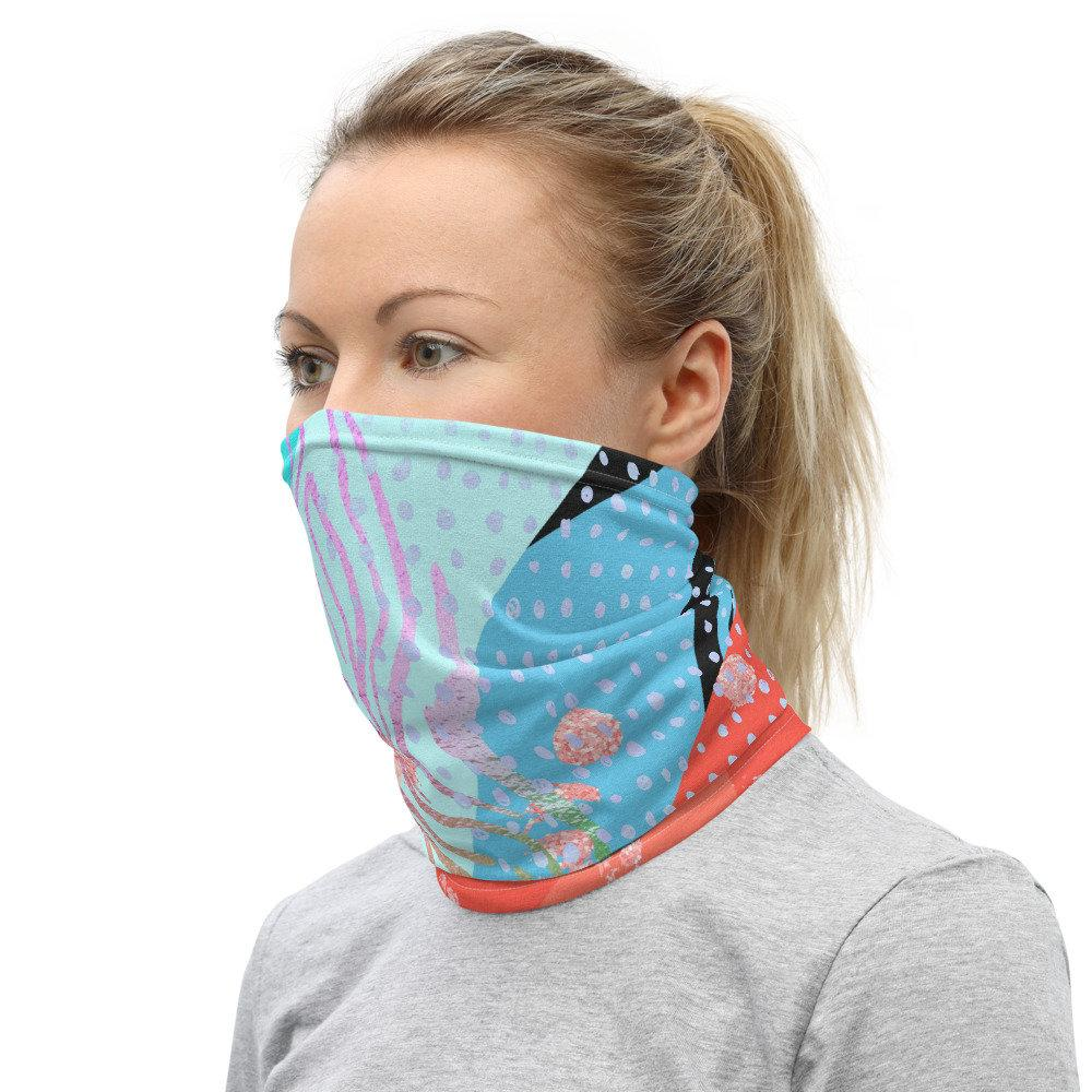 Face Covering-Wacky Colorful Print Neck Gaiter-Midnight Sheetcake