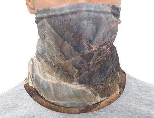Face Covering-Weathered Mountain Illusion Print Neck Gaiter-Midnight Sheetcake