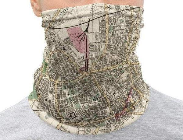 Face Covering-Whitbread's new plan of London Map Illustration Neck Gaiter-Midnight Sheetcake