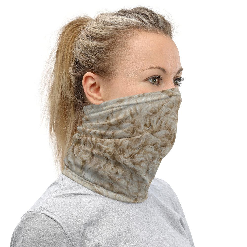 Face Covering-White Faux Fur Illusion Print Neck Gaiter-Midnight Sheetcake