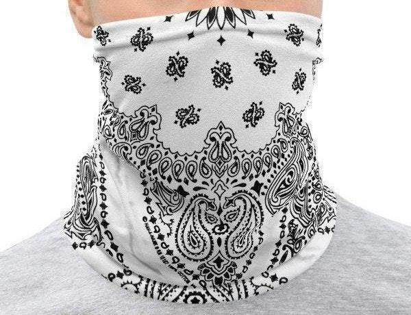 Face Covering-White Faux Vintage Bandana Illusion Print Neck Gaiter-Midnight Sheetcake