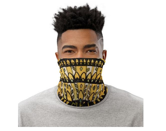 Face Covering-Yellow and Black Rosette Graphic de Graag Design Neck Gaiter-Midnight Sheetcake