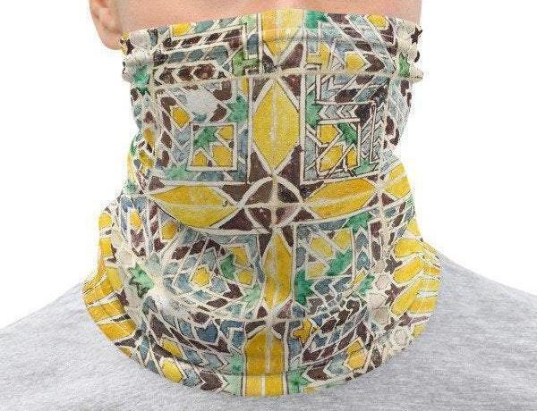 Face Covering-Yellow and Green Geometric Tile Pattern Design Neck Gaiter-Midnight Sheetcake