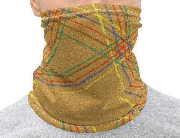 Neck Gaiter Face Cover: Yellow Deconstructed Plaid Japanese Woodblock Textile Motif Sublimation Printed on Stretch Fabric *MADE-to-ORDER* - Midnight Sheetcake